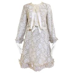 1960s CHANEL creme Darquer lace dress and jacket ensemble