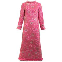 1960er Jahren Buble gum rosa Vintage Seide Perlen Pailletten-Kleid