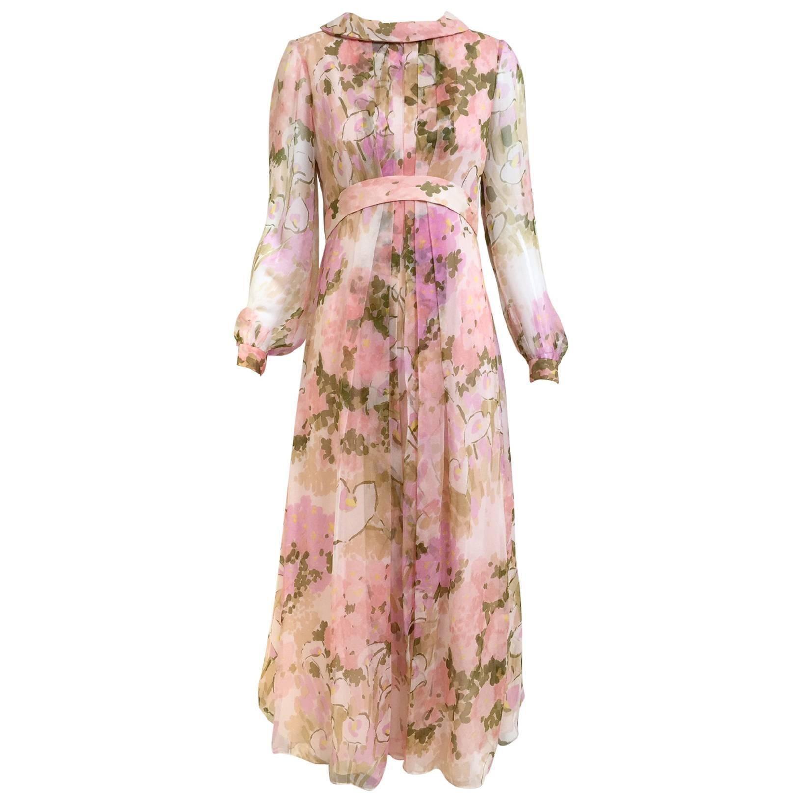 1970s Pink Floral Print Silk Chiffon Long Sleeve Maxi Dress