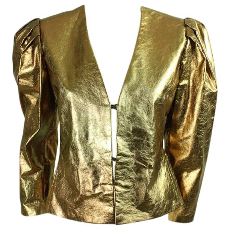 Bill Blass Metallic Leather Jacket, 1980s  For Sale