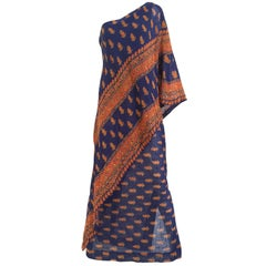 1970s Anne Fogarty One Shoulder Sari Inspired Blue and Orange Print Summer Dress
