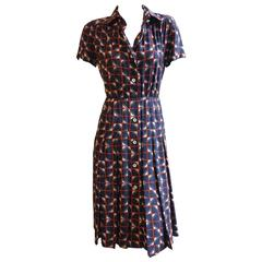 GALANOS Silk Print Day Dress with Pleated Skirt