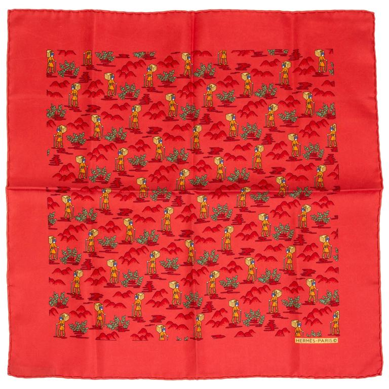 Hermes Silk Twill Coral Pouchette Scarf