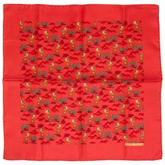 Hermes Silk Twill Coral Pouchette Scarf