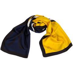 Roberta Di Camerino Silk Navy Yellow Twill Scarf