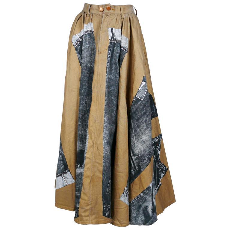 Jean Paul Gaultier Vintage Trompe-l'oeil Denim Circle Skirt Rare Gold Color
