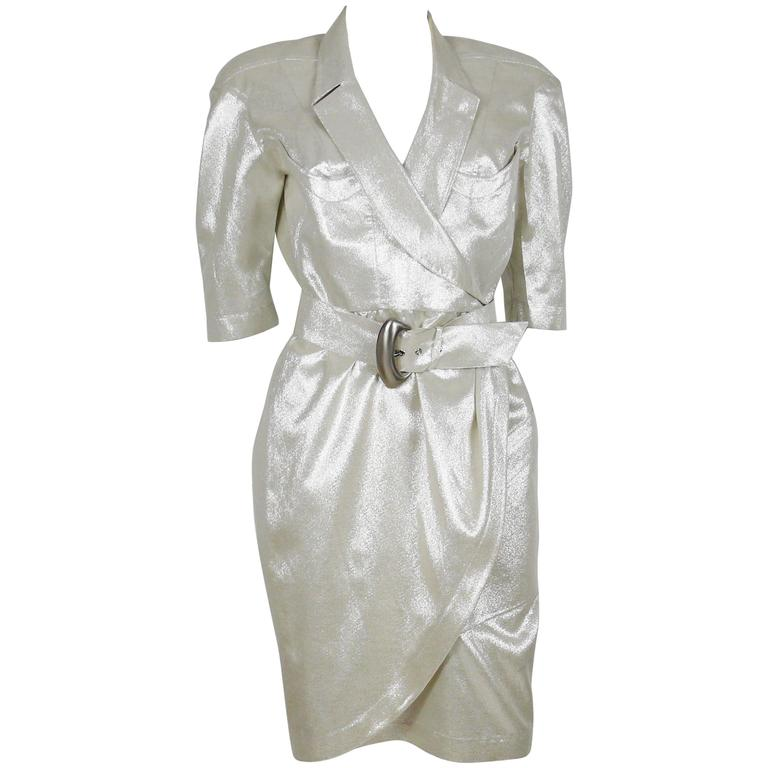 Thierry Mugler Vintage Gold Lurex Wrap Dress For Sale