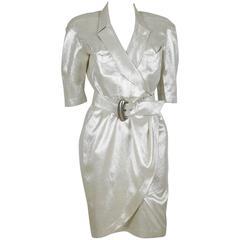 Thierry Mugler Vintage Gold Lurex Wrap Dress