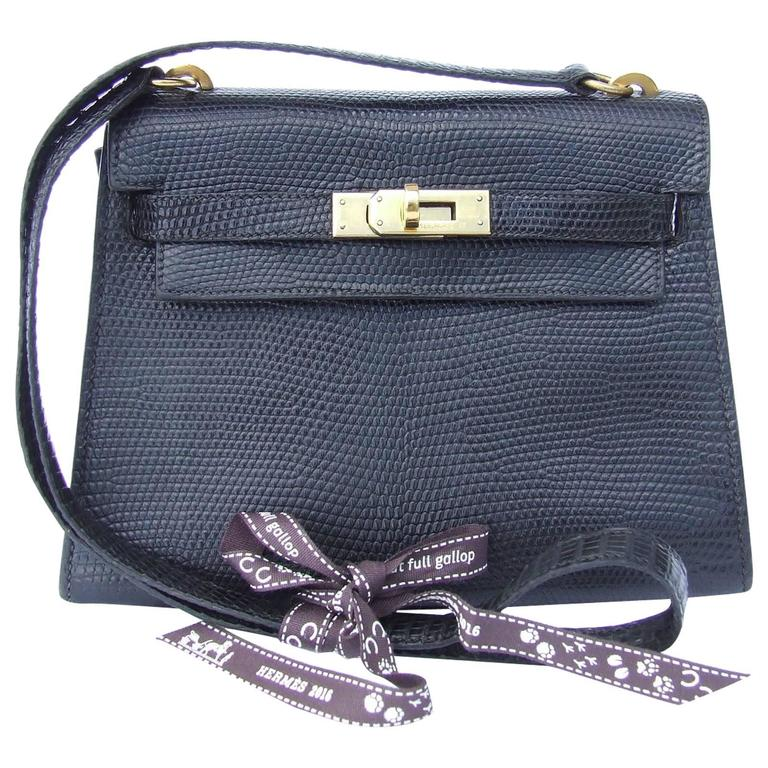Exceptional Hermes Mini Kelly 20 cm Bag 2 Ways Black Lizard GHW RARE For Sale