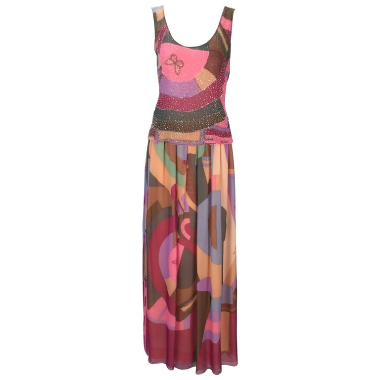 80s Hanae Mori Silk Multicolored Butterfly Print Three Piece Skirt Ensemble