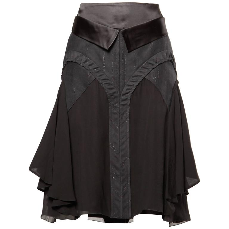 Martine Sitbon Silk and Wool Avant Garde Skirt For Sale