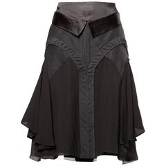 Martine Sitbon Silk and Wool Avant Garde Skirt