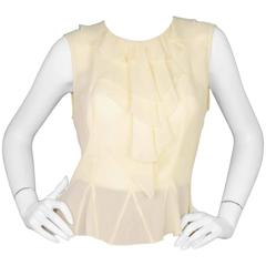 Chanel Cream Silk Sleeveless Top with Ruffles Sz 42