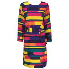 Late 60s Bill Blass Multicolored Woven Wool Long Sleeve Mini Dress