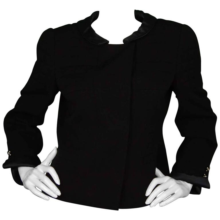 Chanel Black Wool Jacket with Sateen Trim Sz 44 1