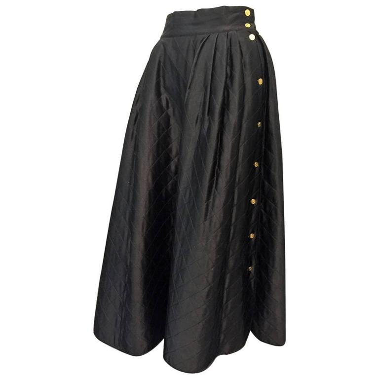 "1980s Chanel Quilted Silk Satin Full Skirt with ""Handbag"" Buttons For Sale"