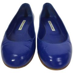 Manolo Blahnik Royal Blue Leather Flat
