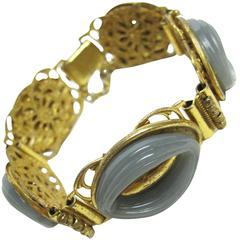 Miriam Haskell Grey Ovals Link Bracelet
