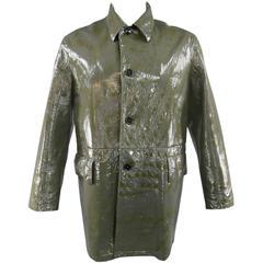 Men's PRADA Men's 42 High Shine Patent Green & Charcoal Button Up Collared Coat