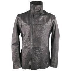 EMPORIO ARMANI 44 Black Wrinkle Textured Lamb Leather Asymmetrical Zip Jacket