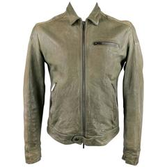 EMPORIO ARMANI Men's 42 Distressed Green Lamb Leather Collared Moto Jacket