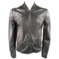 MAISON MARTIN MARGIELA Men's 42 Black Leather Seam Panel Bomber Jacket