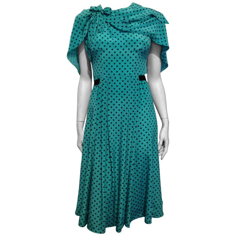 Prada Teal and Black Polkadot Dress Size 38 (2)