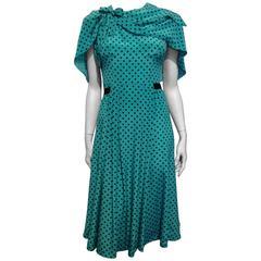 Prada Teal and Black Polkadot Dress Size 38 (2)