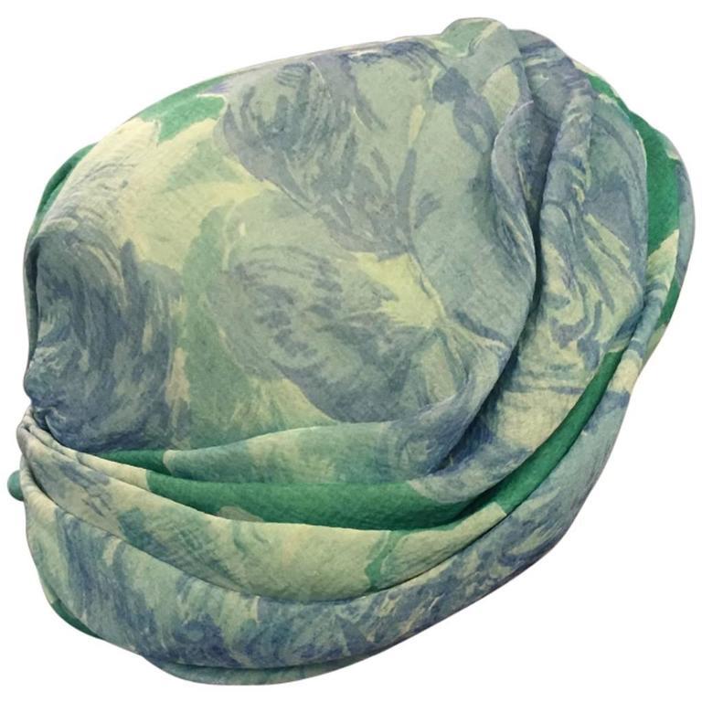 1950s Christian Dior Floral Silk Chiffon Turban Hat 1