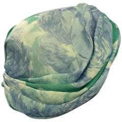 1950s Christian Dior Floral Silk Chiffon Turban Hat