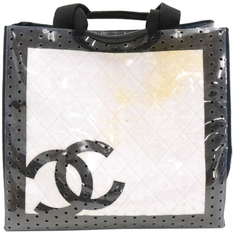 Chanel XL White x Black Cotton x Vinyl Tote Hand Bag