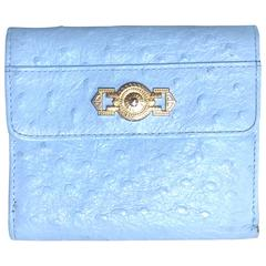 Vintage Gianni Versace ostrich-embossed light blue leather wallet with sunburst