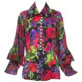 Naeem Khan Riazee Silk Faille Floral Blouse, Circa 1980s