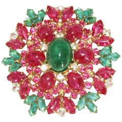 Exceptional Christian Dior vintage flower brooch of 1970