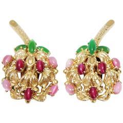 Beautiful Christian Dior Vintage fruit earrings 1969