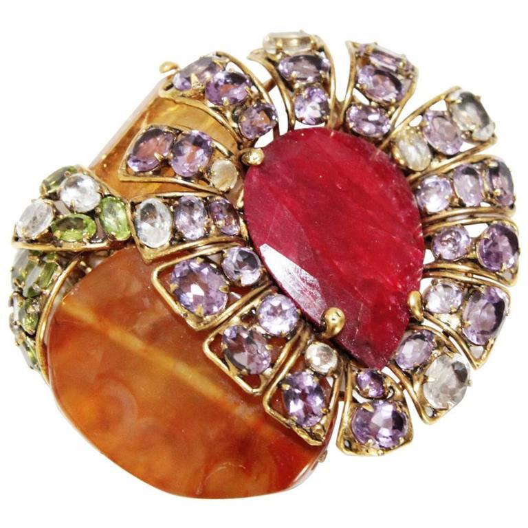 Incredible semi-precious bracelet/brooch For Sale