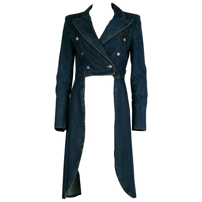 Jean Paul Gaultier Denim Tailcoat For Sale