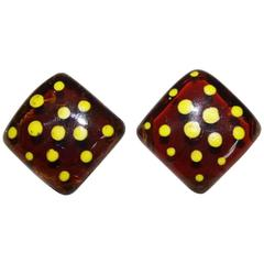 "Jacques Gautier ""Picasso"" yellow dots earrings c.1960"