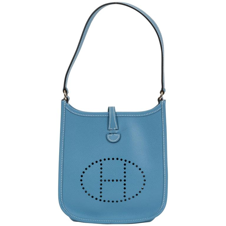 11eb4d036ed6 Hermès Mini Blue Jean Evelyne Bag For Sale at 1stdibs