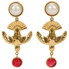 Chanel Rare 70's Bird Gripoix Drop Earrings