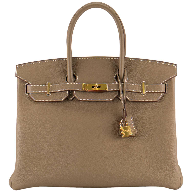 hermes replica bags - Hermes Handbag Birkin 35 Togo Leather Etoupe color Gold Hardware ...