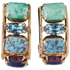 Ingenious Schreiner 1960s hoop earrings, full of brilliant colour!