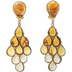 Graduated topaz to citrine poured glass and gilt articulated drop earrings