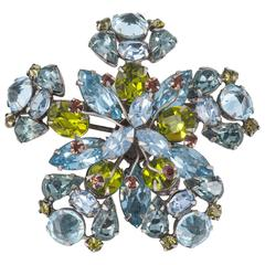 Schreiner 1950s sophisticated colour combination paste brooch