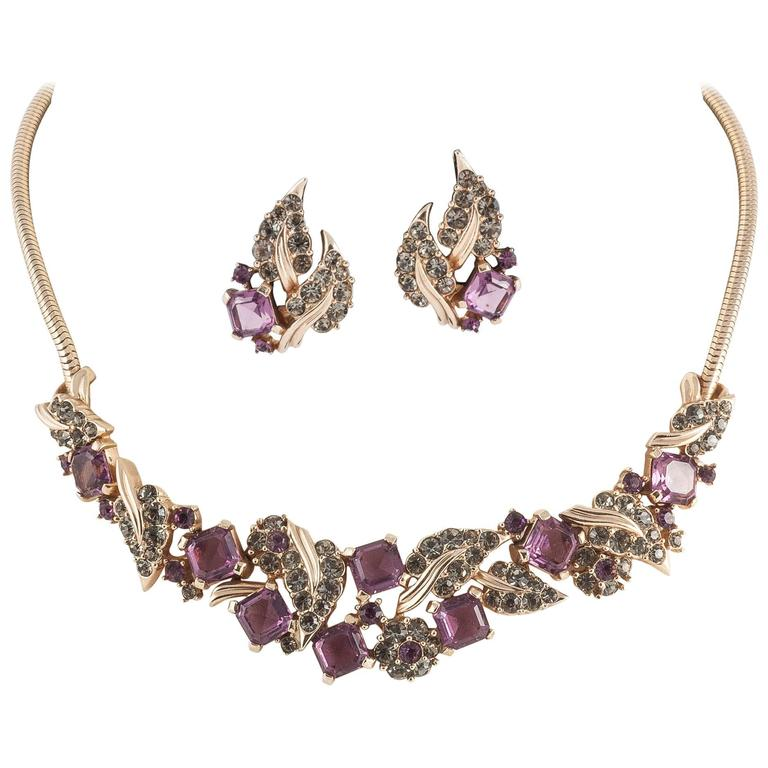 Marcel Boucher deep amethyst square cut/grey paste necklace and earrings For Sale