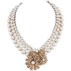 Miriam Haskell three row baroque pearl necklace with  floral centrepiece