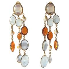WW poured glass/gilt 3 strand 'Harlequin'  drop earrings