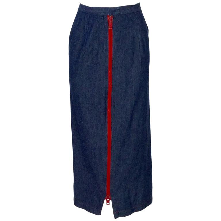 1970s Geoffrey Beene Dark Wash Denim Midi Skirt  For Sale