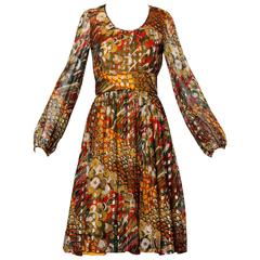 1970s Mardi Gras Metallic Feather Print Cocktail Dress