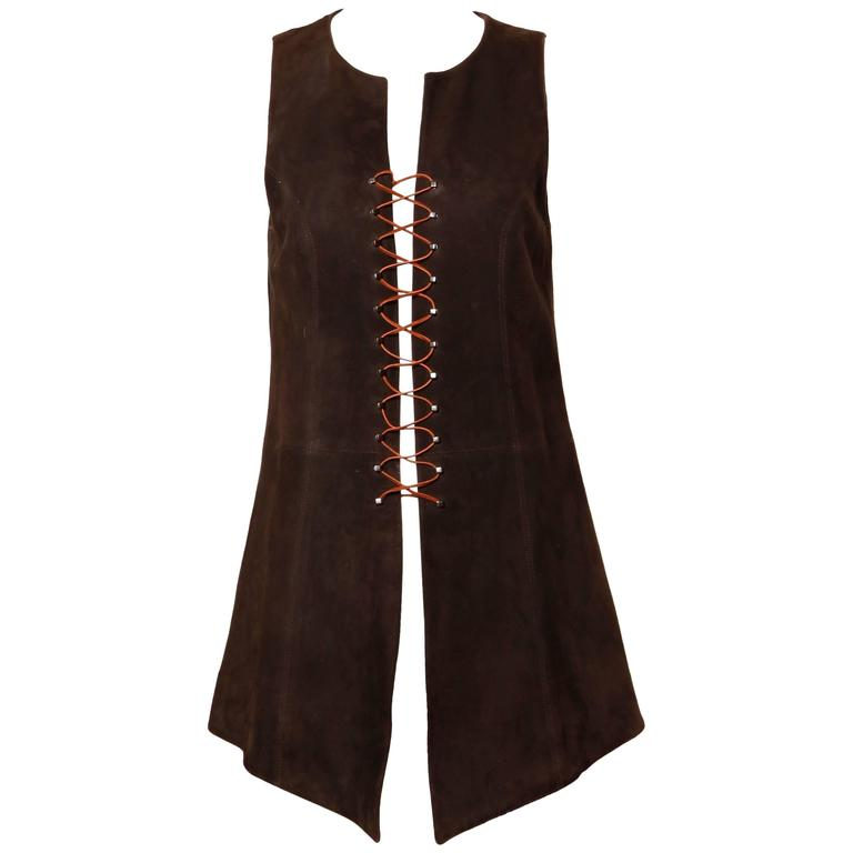 Christian Lacroix Vintage Brown Suede Leather Lace Up Boho Tunic Vest